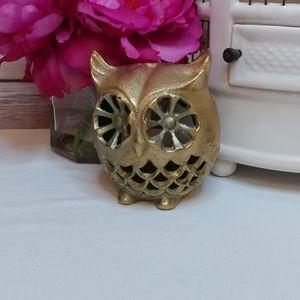 Brass owl candle holder statue bird decor